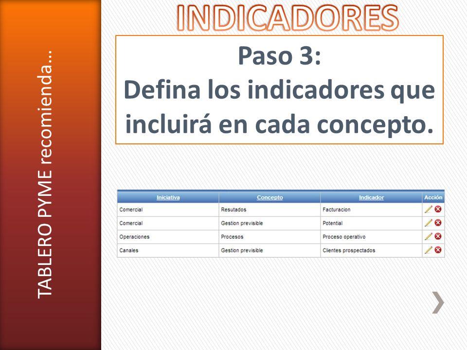 Paso 3: Defina los indicadores que incluirá en cada concepto. TABLERO PYME recomienda…