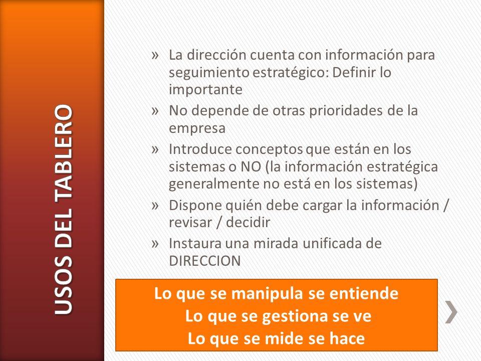 » La dirección cuenta con información para seguimiento estratégico: Definir lo importante » No depende de otras prioridades de la empresa » Introduce