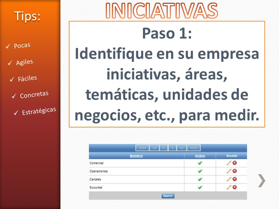 Paso 1: Identifique en su empresa iniciativas, áreas, temáticas, unidades de negocios, etc., para medir. Pocas Agiles Fáciles Concretas Estratégicas T