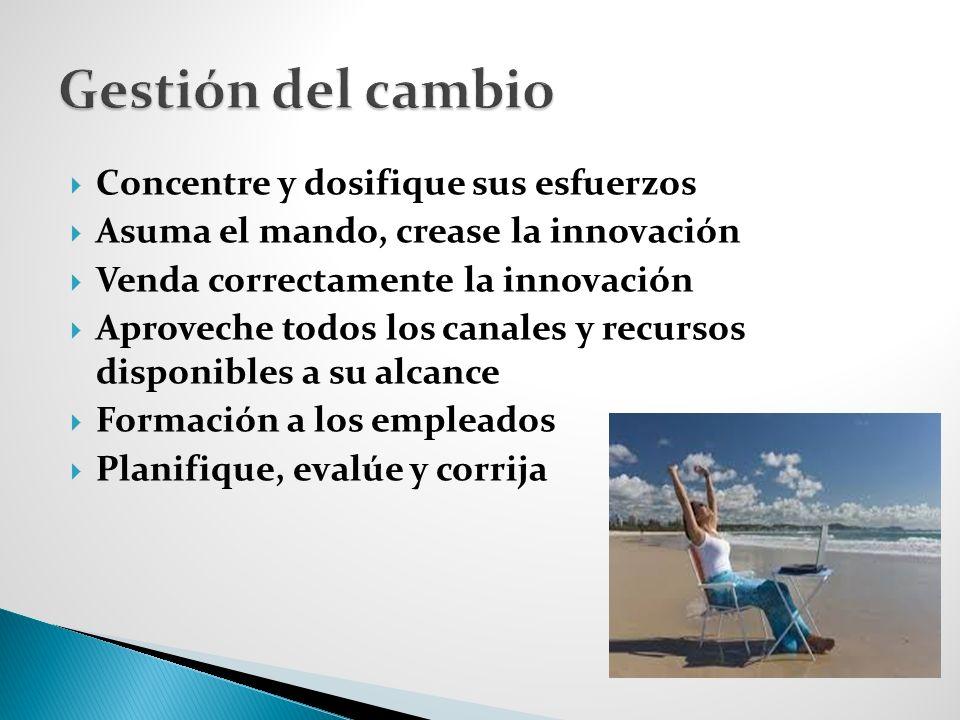 Concentre y dosifique sus esfuerzos Asuma el mando, crease la innovación Venda correctamente la innovación Aproveche todos los canales y recursos disponibles a su alcance Formación a los empleados Planifique, evalúe y corrija