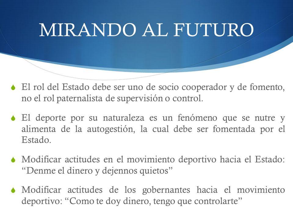 MIRANDO AL FUTURO El rol del Estado debe ser uno de socio cooperador y de fomento, no el rol paternalista de supervisión o control.