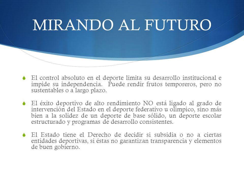 MIRANDO AL FUTURO El control absoluto en el deporte limita su desarrollo institucional e impide su independencia.