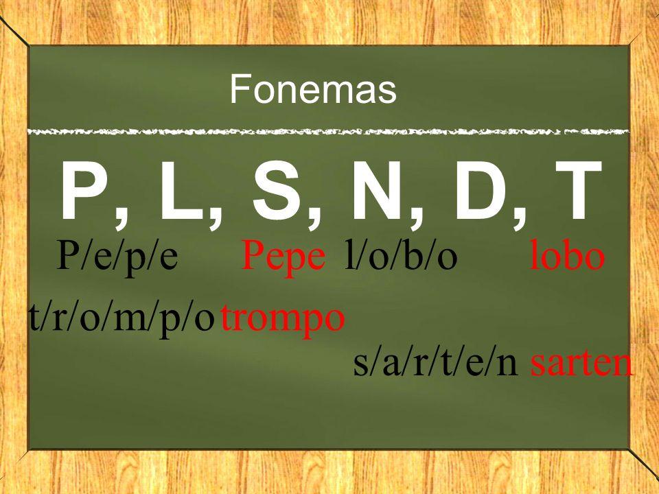 Fonemas P, L, S, N, D, T P/e/p/e Pepe t/r/o/m/p/o trompo l/o/b/o lobo s/a/r/t/e/n sarten