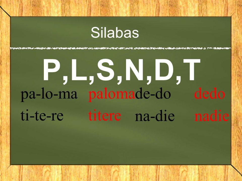 Silabas P,L,S,N,D,T pa-lo-ma paloma ti-te-re titere de-do dedo na-die nadie