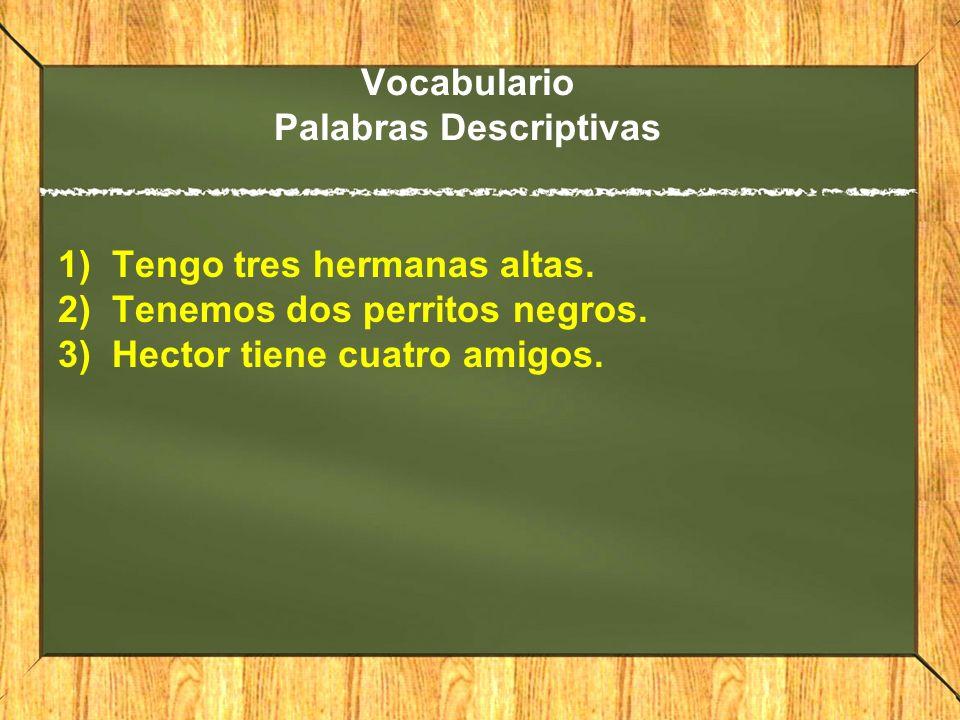 Vocabulario Palabras Descriptivas 1)Tengo tres hermanas altas. 2)Tenemos dos perritos negros. 3)Hector tiene cuatro amigos.