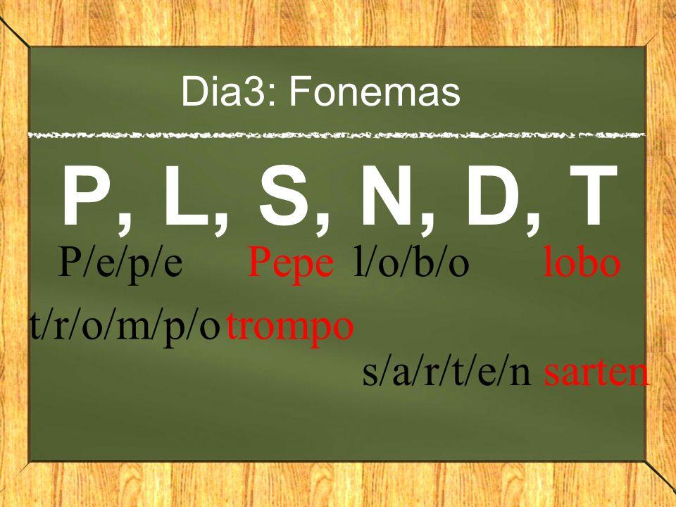 Dia3: Fonemas P, L, S, N, D, T P/e/p/e Pepe t/r/o/m/p/o trompo l/o/b/o lobo s/a/r/t/e/n sarten