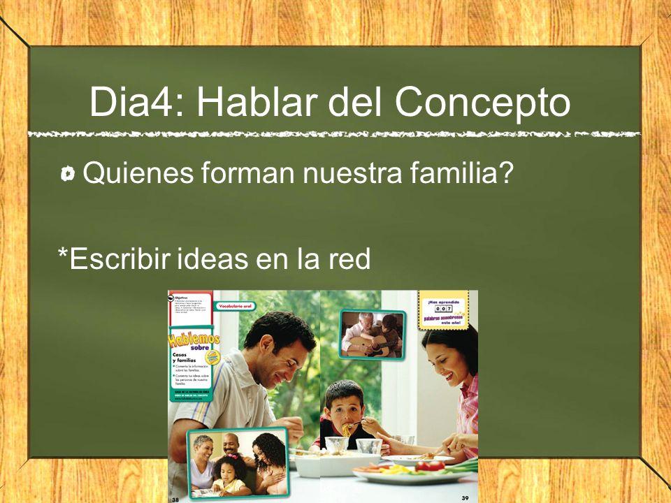 Dia4: Hablar del Concepto Quienes forman nuestra familia? *Escribir ideas en la red