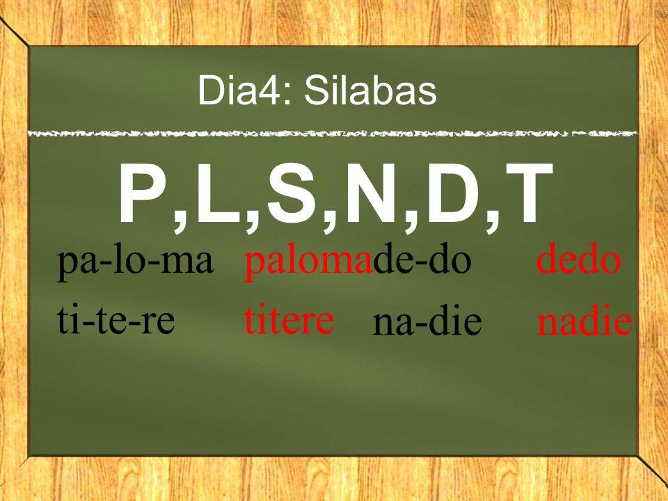 Dia4: Silabas P,L,S,N,D,T pa-lo-ma paloma ti-te-re titere de-do dedo na-die nadie