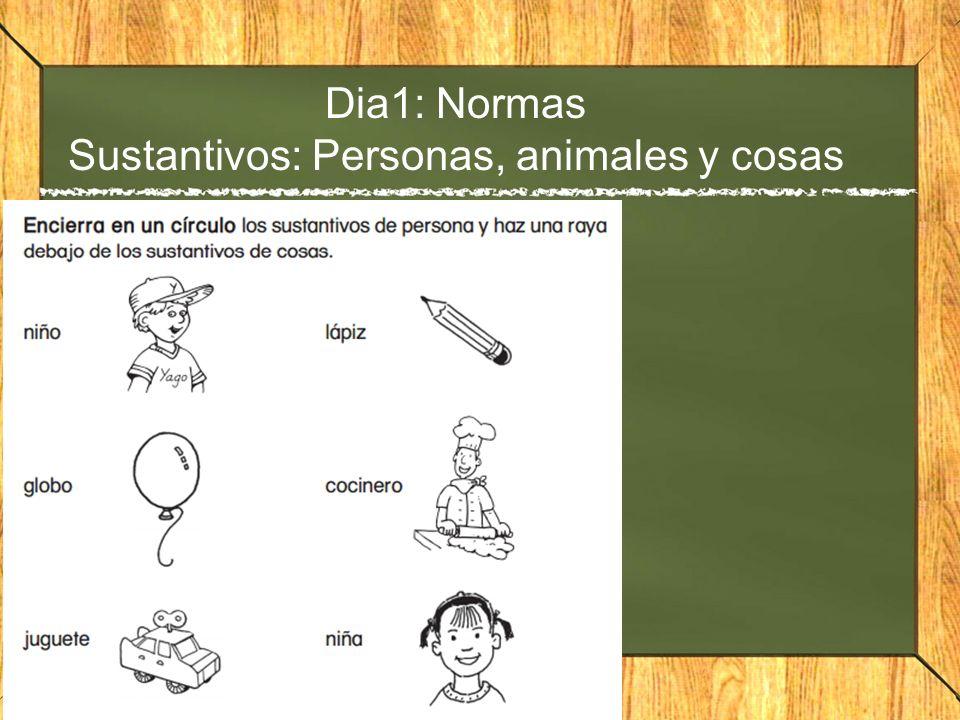 Dia1: Normas Sustantivos: Personas, animales y cosas