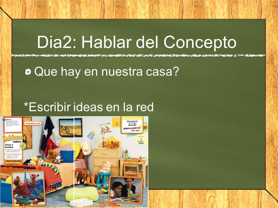 Dia2: Hablar del Concepto Que hay en nuestra casa? *Escribir ideas en la red