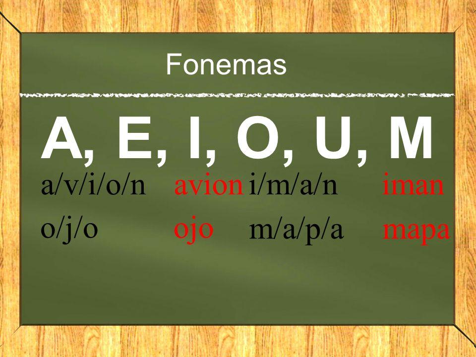 Fonemas A, E, I, O, U, M a/v/i/o/n avion o/j/o ojo i/m/a/n iman m/a/p/a mapa