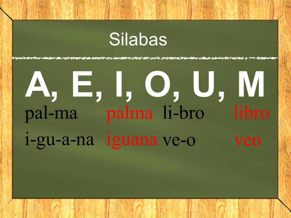 Silabas A, E, I, O, U, M pal-ma palma i-gu-a-na iguana li-bro libro ve-o veo
