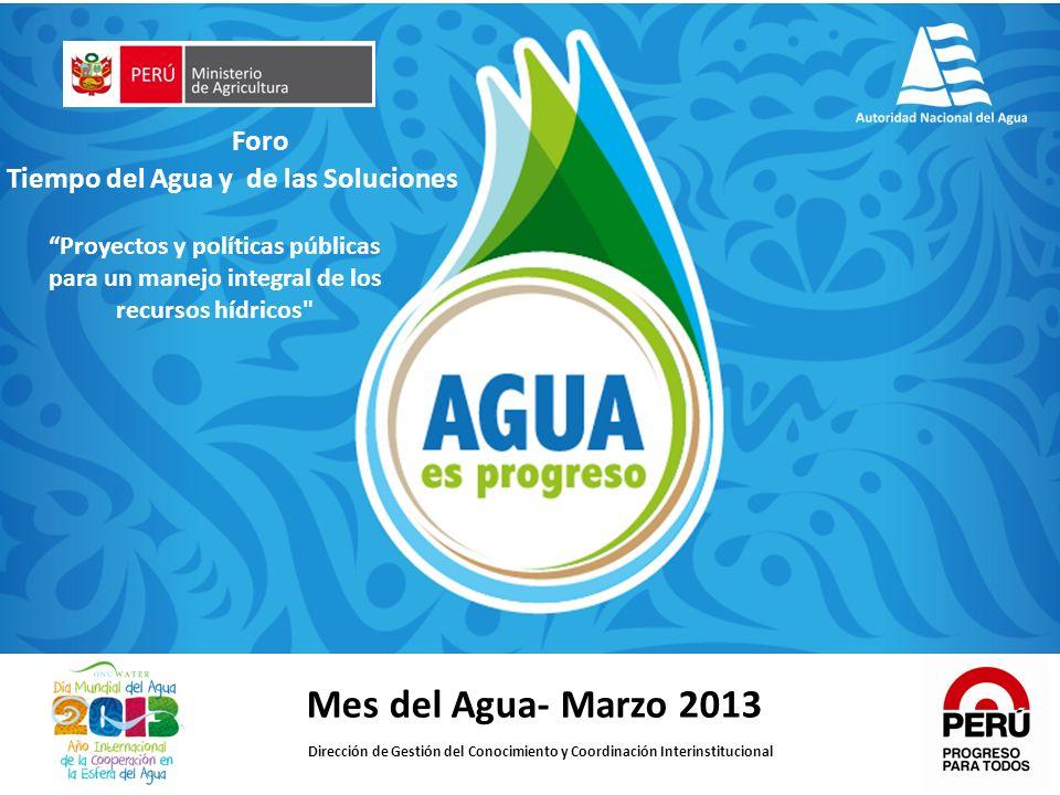 Mes del Agua- Marzo 2013 Dirección de Gestión del Conocimiento y Coordinación Interinstitucional Foro Tiempo del Agua y de las Soluciones Proyectos y