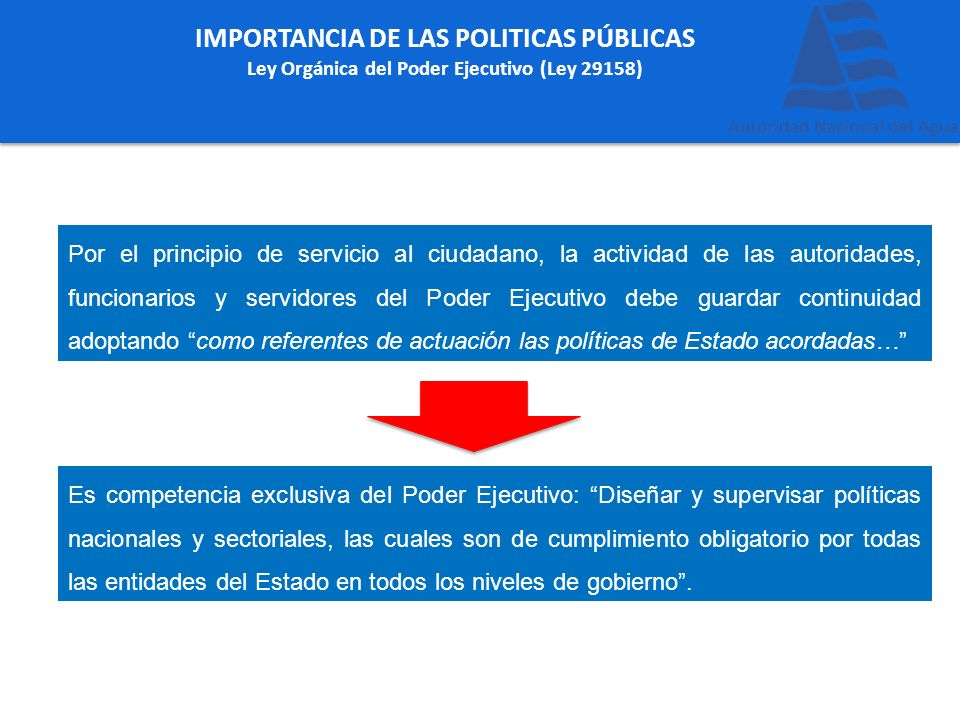 IMPORTANCIA DE LAS POLITICAS PÚBLICAS Ley Orgánica del Poder Ejecutivo (Ley 29158) Por el principio de servicio al ciudadano, la actividad de las auto