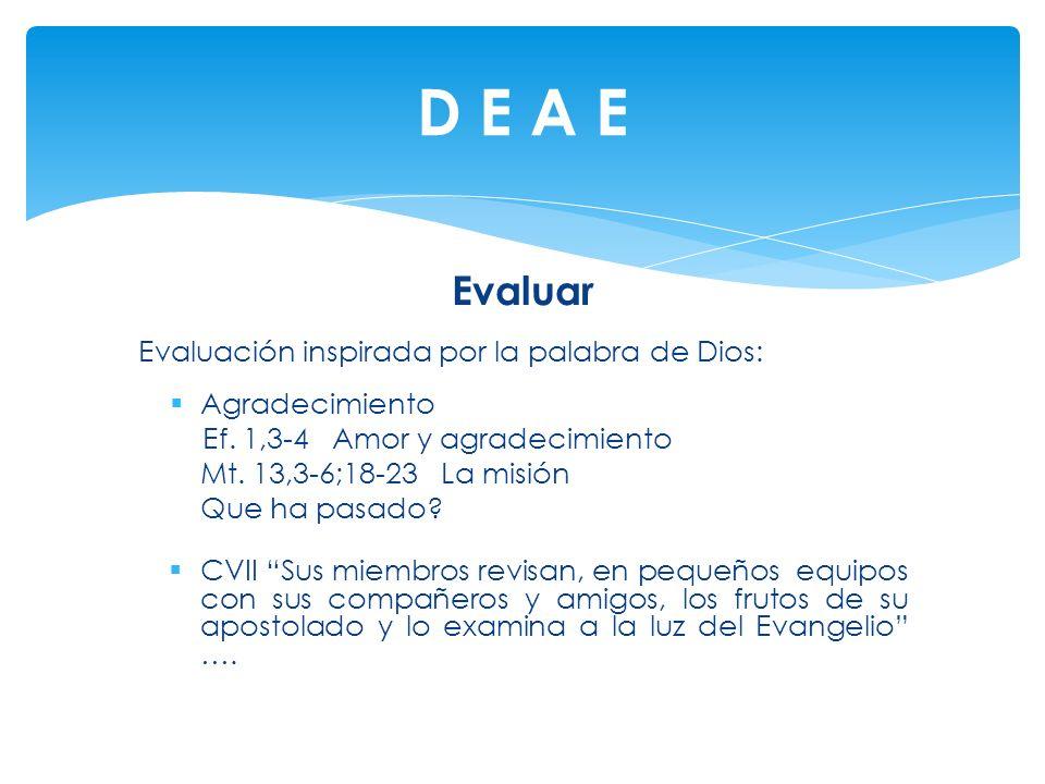 Evaluar Evaluación inspirada por la palabra de Dios: Agradecimiento Ef. 1,3-4 Amor y agradecimiento Mt. 13,3-6;18-23 La misión Que ha pasado? CVII Sus