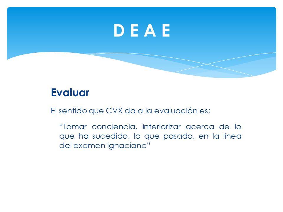 Evaluar El sentido que CVX da a la evaluación es: Tomar conciencia, interiorizar acerca de lo que ha sucedido, lo que pasado, en la línea del examen i