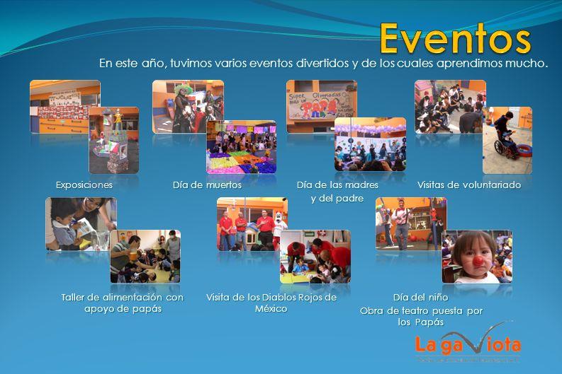 En este año, tuvimos varios eventos divertidos y de los cuales aprendimos mucho. Visitas de voluntariado Día de las madres y del padre Día de muertos