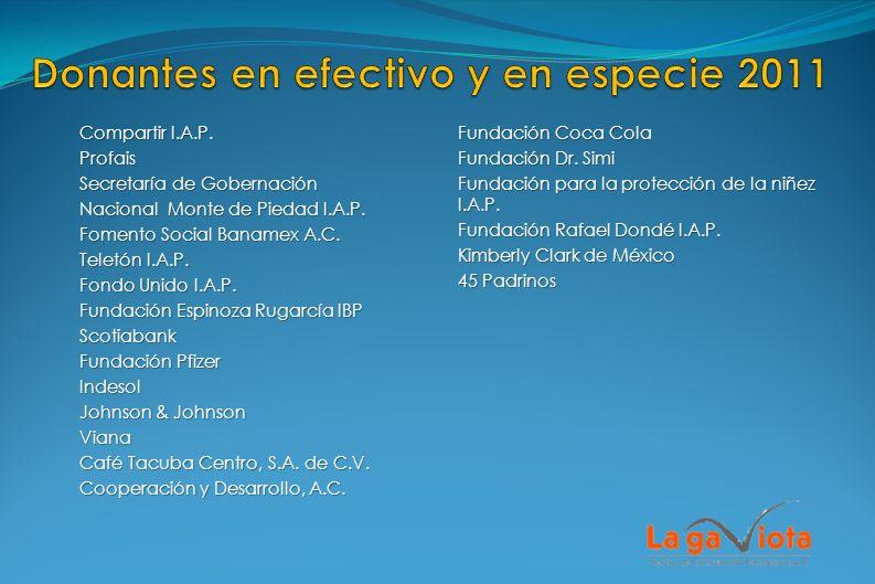 Compartir I.A.P. Profais Secretaría de Gobernación Nacional Monte de Piedad I.A.P. Fomento Social Banamex A.C. Teletón I.A.P. Fondo Unido I.A.P. Funda