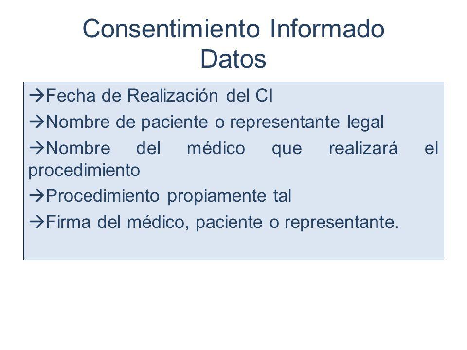 Consentimiento Informado Datos Fecha de Realización del CI Nombre de paciente o representante legal Nombre del médico que realizará el procedimiento Procedimiento propiamente tal Firma del médico, paciente o representante.