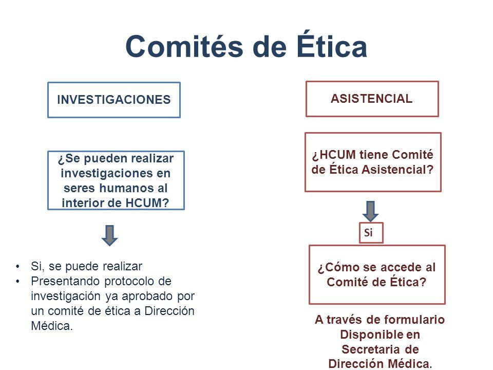 Comités de Ética INVESTIGACIONES ASISTENCIAL ¿Se pueden realizar investigaciones en seres humanos al interior de HCUM? Si, se puede realizar Presentan