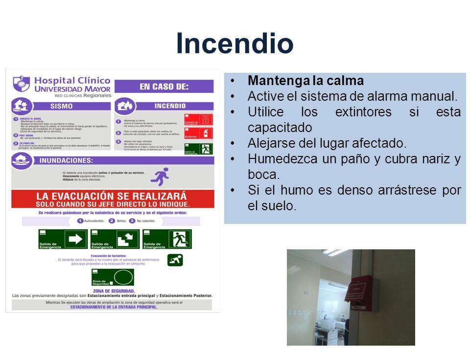 Incendio Mantenga la calma Active el sistema de alarma manual.