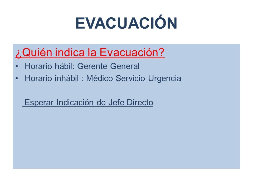 EVACUACIÓN ¿Quién indica la Evacuación? Horario hábil: Gerente General Horario inhábil : Médico Servicio Urgencia Esperar Indicación de Jefe Directo