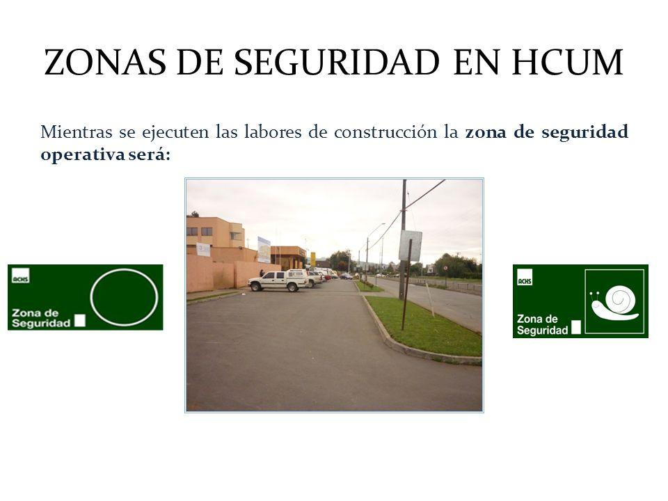 ZONAS DE SEGURIDAD EN HCUM Mientras se ejecuten las labores de construcción la zona de seguridad operativa será: