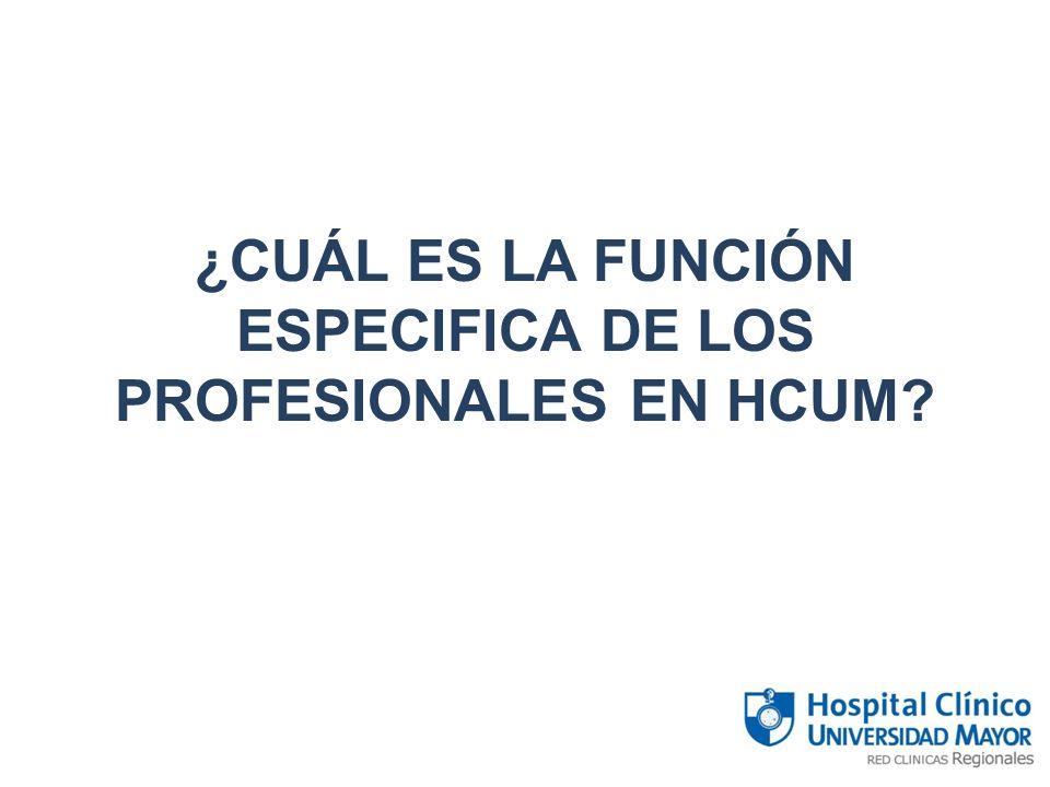 ¿CUÁL ES LA FUNCIÓN ESPECIFICA DE LOS PROFESIONALES EN HCUM?