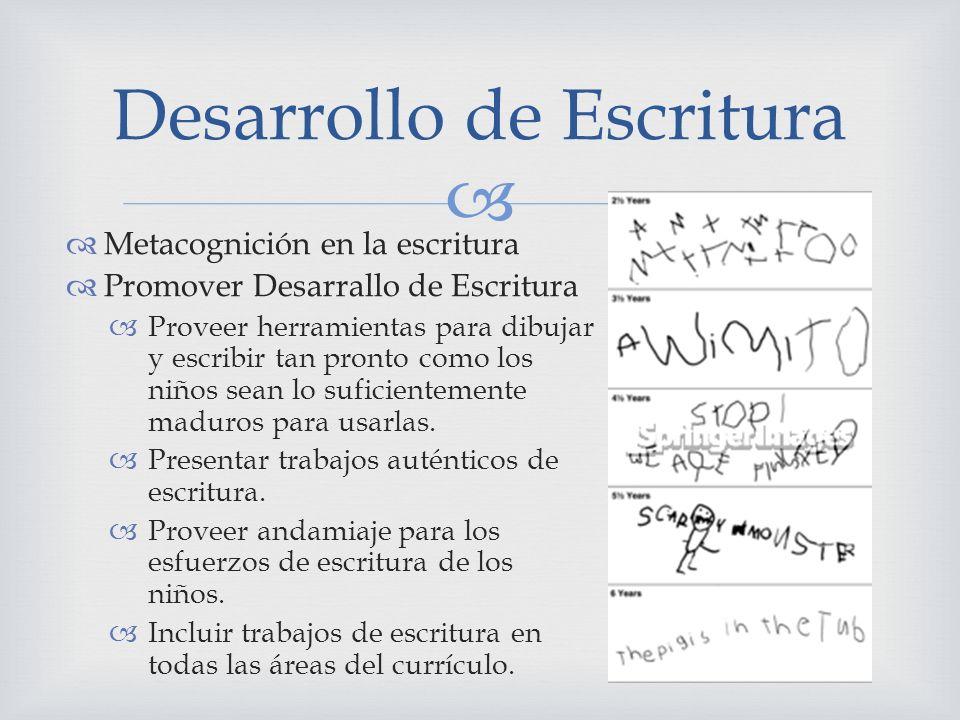 Metacognición en la escritura Promover Desarrallo de Escritura Proveer herramientas para dibujar y escribir tan pronto como los niños sean lo suficien