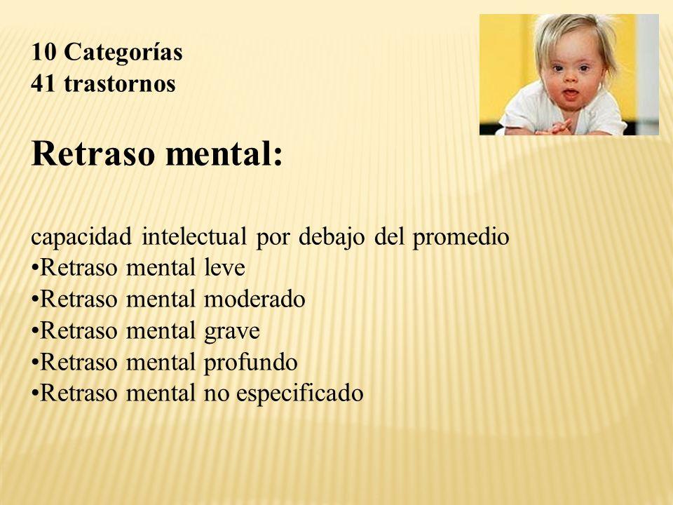 10 Categorías 41 trastornos Retraso mental: capacidad intelectual por debajo del promedio Retraso mental leve Retraso mental moderado Retraso mental grave Retraso mental profundo Retraso mental no especificado