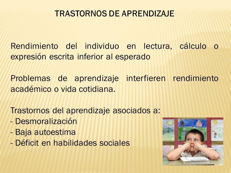TRASTORNOS DE APRENDIZAJE Rendimiento del individuo en lectura, cálculo o expresión escrita inferior al esperado Problemas de aprendizaje interfieren rendimiento académico o vida cotidiana.