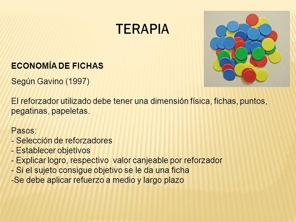 TERAPIA ECONOMÍA DE FICHAS Según Gavino (1997) El reforzador utilizado debe tener una dimensión física, fichas, puntos, pegatinas, papeletas.