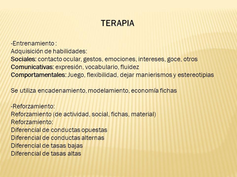 TERAPIA -Entrenamiento : Adquisición de habilidades: Sociales: contacto ocular, gestos, emociones, intereses, goce, otros Comunicativas: expresión, vocabulario, fluidez Comportamentales: Juego, flexibilidad, dejar manierismos y estereotipias Se utiliza encadenamiento, modelamiento, economía fichas -Reforzamiento: Reforzamiento (de actividad, social, fichas, material) Reforzamiento: Diferencial de conductas opuestas Diferencial de conductas alternas Diferencial de tasas bajas Diferencial de tasas altas