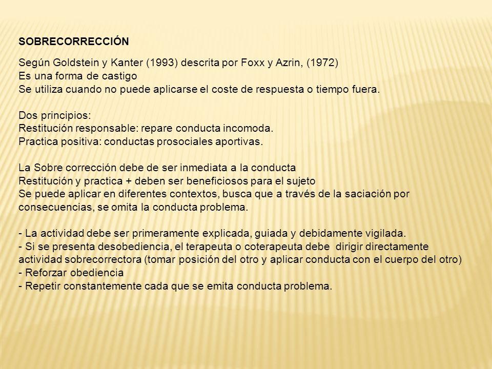 SOBRECORRECCIÓN Según Goldstein y Kanter (1993) descrita por Foxx y Azrin, (1972) Es una forma de castigo Se utiliza cuando no puede aplicarse el coste de respuesta o tiempo fuera.