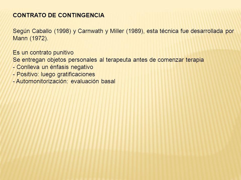 CONTRATO DE CONTINGENCIA Según Caballo (1998) y Carnwath y Miller (1989), esta técnica fue desarrollada por Mann (1972).
