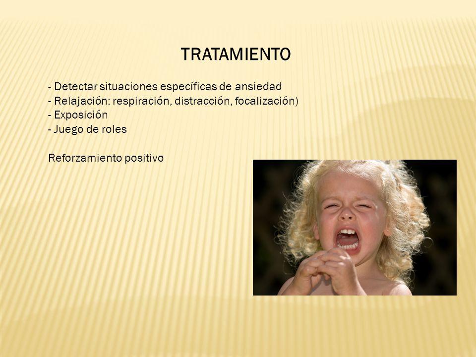TRATAMIENTO - Detectar situaciones específicas de ansiedad - Relajación: respiración, distracción, focalización) - Exposición - Juego de roles Reforzamiento positivo