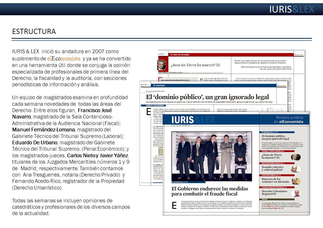 ESTRUCTURA http://diario.eleconomista.es/issue/50499 IURIS & LEX inició su andadura en 2007 como suplemento de elEconomista y ya se ha convertido en u