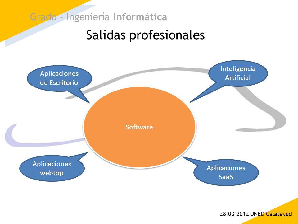 Salidas profesionales Grado – Ingeniería Informática 28-03-2012 UNED Calatayud Software Inteligencia Artificial Aplicaciones de Escritorio Aplicacione