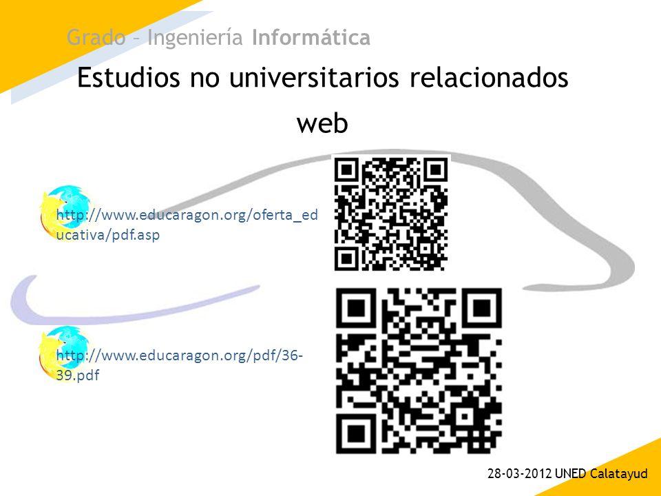 Estudios no universitarios relacionados Grado – Ingeniería Informática 28-03-2012 UNED Calatayud web http://www.educaragon.org/oferta_ed ucativa/pdf.a