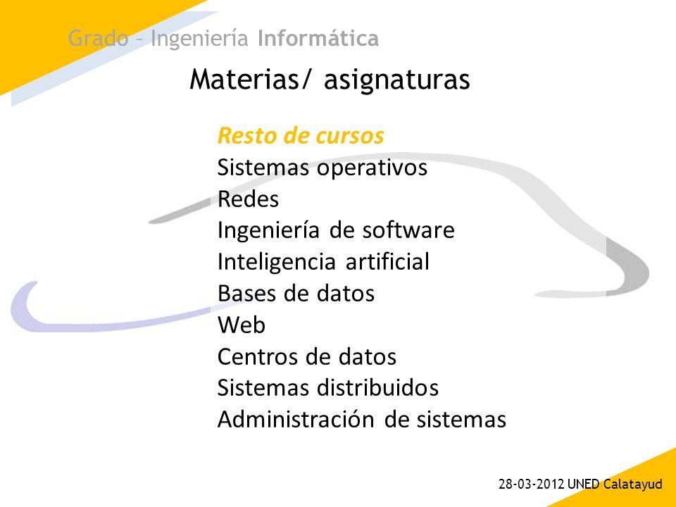 Materias/ asignaturas Grado – Ingeniería Informática 28-03-2012 UNED Calatayud Resto de cursos Sistemas operativos Redes Ingeniería de software Inteli