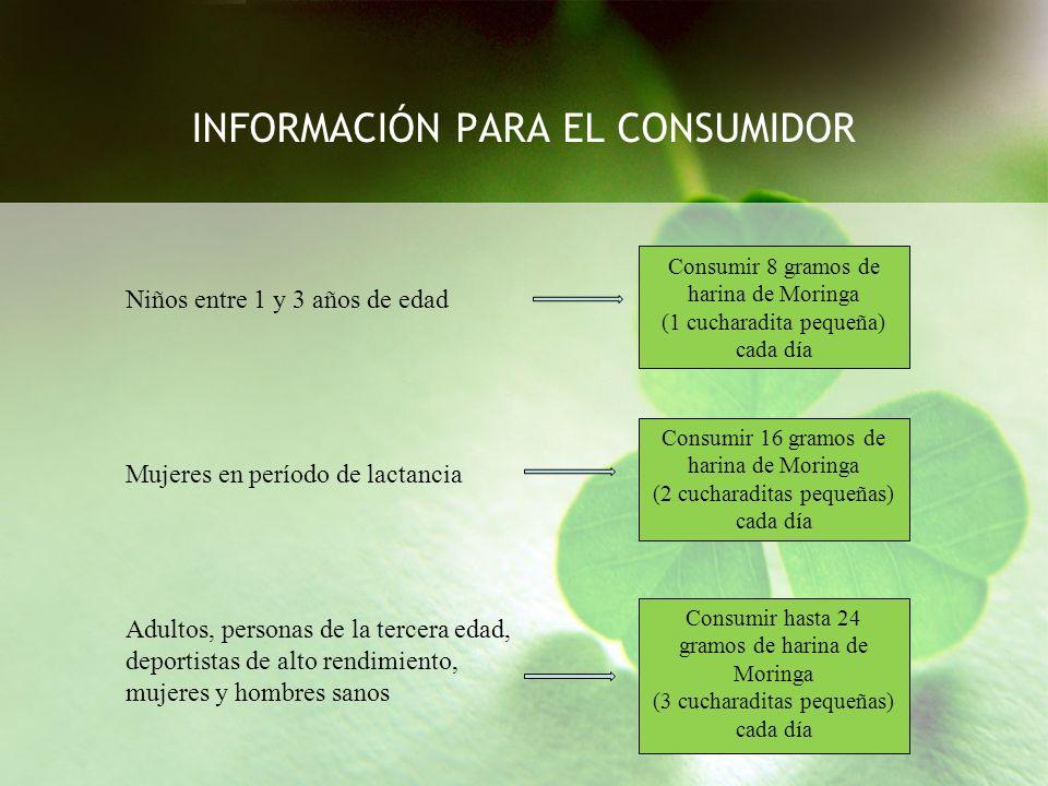 INFORMACIÓN PARA EL CONSUMIDOR Niños entre 1 y 3 años de edad Consumir 8 gramos de harina de Moringa (1 cucharadita pequeña) cada día Consumir 16 gram
