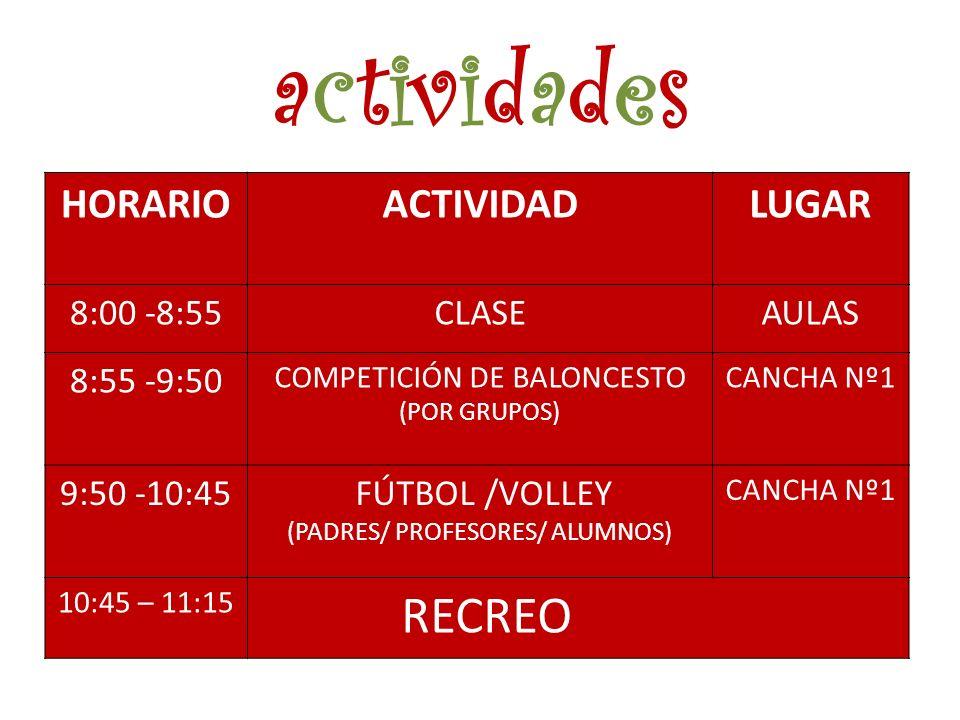 actividadesactividades HORARIOACTIVIDADLUGAR 8:00 -8:55CLASEAULAS 8:55 -9:50 COMPETICIÓN DE BALONCESTO (POR GRUPOS) CANCHA Nº1 9:50 -10:45 FÚTBOL /VOLLEY (PADRES/ PROFESORES/ ALUMNOS) CANCHA Nº1 10:45 – 11:15 RECREO
