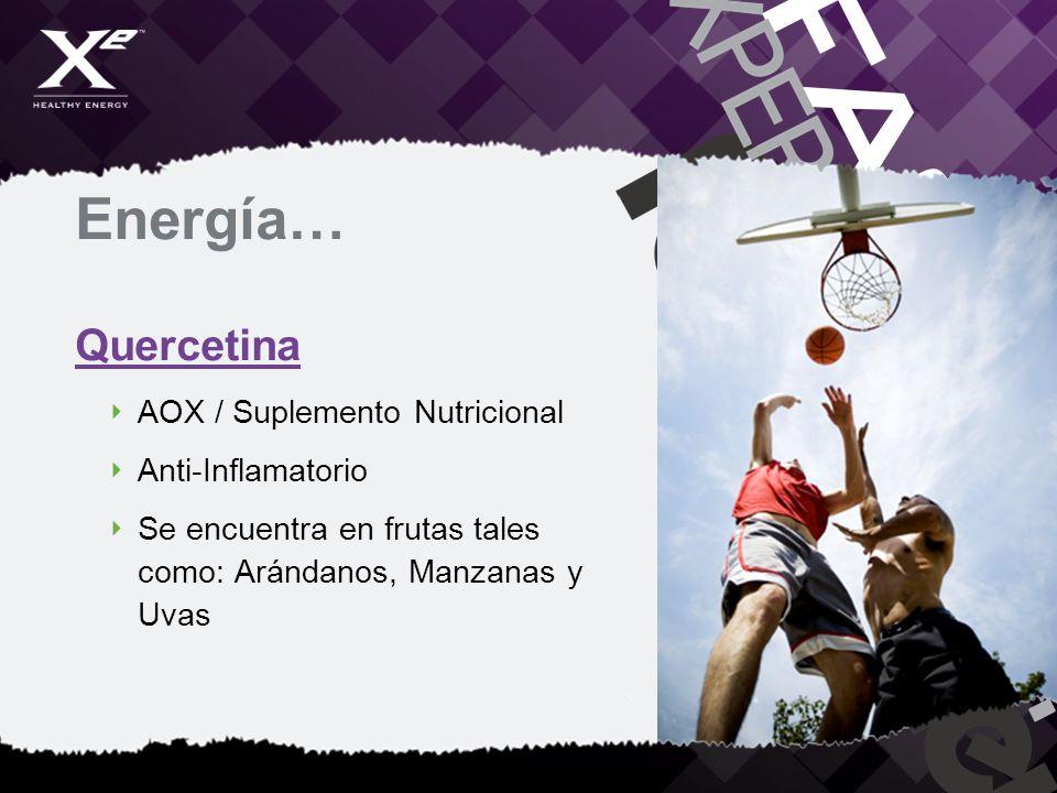Energía… Quercetina AOX / Suplemento Nutricional Anti-Inflamatorio Se encuentra en frutas tales como: Arándanos, Manzanas y Uvas