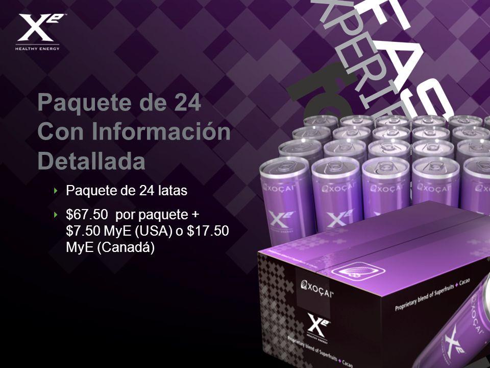 Paquete de 24 Con Información Detallada Paquete de 24 latas $67.50 por paquete + $7.50 MyE (USA) o $17.50 MyE (Canadá)