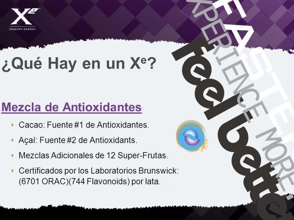 ¿Qué Hay en un X e ? Mezcla de Antioxidantes Cacao: Fuente #1 de Antioxidantes. Açaí: Fuente #2 de Antioxidants. Mezclas Adicionales de 12 Super-Fruta