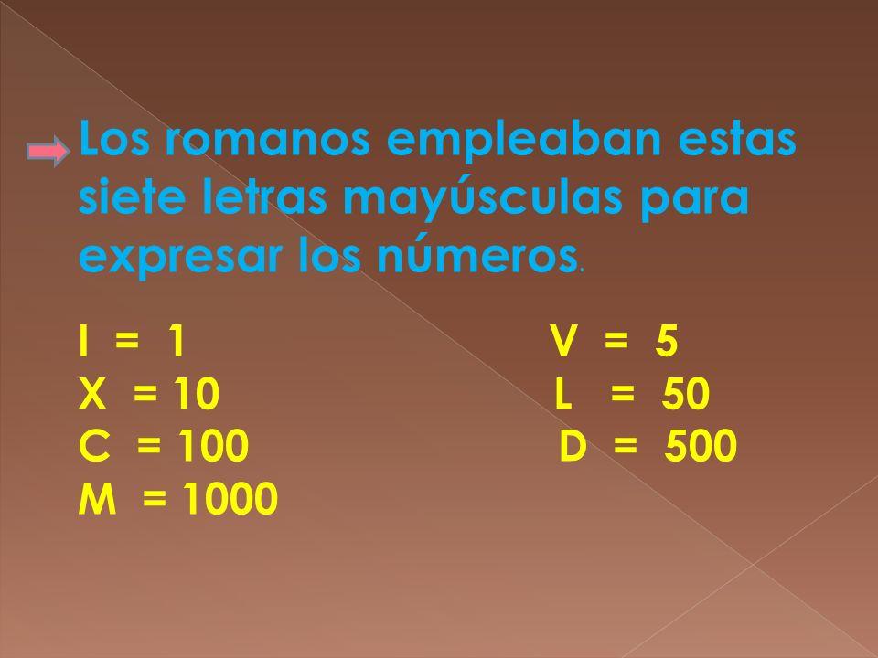 Los romanos empleaban estas siete letras mayúsculas para expresar los números. I = 1 V = 5 X = 10 L = 50 C = 100 D = 500 M = 1000