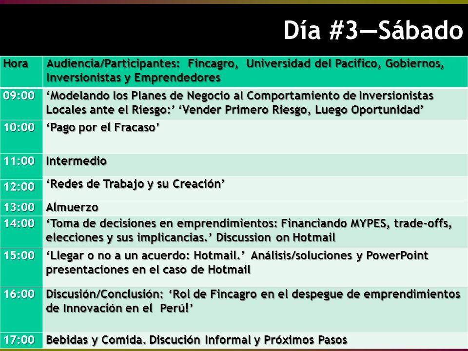 Día #3Sábado Día #3SábadoHora Audiencia/Participantes: Fincagro, Universidad del Pacifico, Gobiernos, Inversionistas y Emprendedores 09:00 Modelando los Planes de Negocio al Comportamiento de Inversionistas Locales ante el Riesgo: Vender Primero Riesgo, Luego Oportunidad 10:00 Pago por el Fracaso 11:00Intermedio Redes de Trabajo y su Creación 12:00 13:00Almuerzo 14:00 Toma de decisiones en emprendimientos: Financiando MYPES, trade-offs, elecciones y sus implicancias.