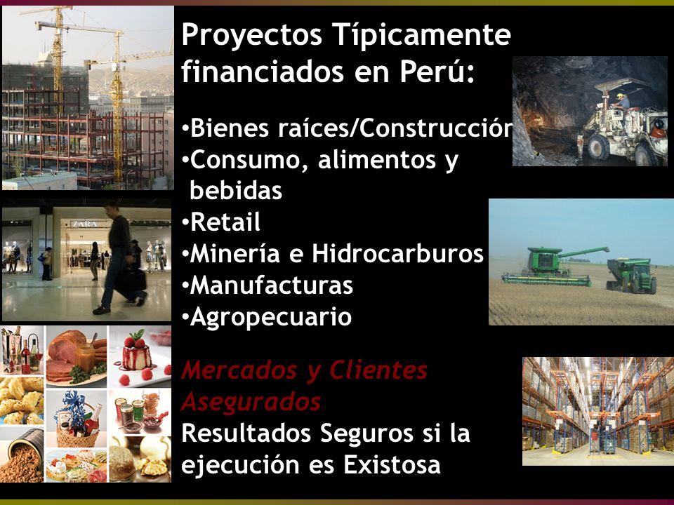 Proyectos Típicamente financiados en Perú: Bienes raíces/Construcción Bienes raíces/Construcción Consumo, alimentos y bebidas Consumo, alimentos y bebidas Retail Retail Minería e Hidrocarburos Minería e Hidrocarburos Manufacturas Manufacturas Agropecuario Agropecuario Mercados y Clientes Asegurados Resultados Seguros si la ejecución es Existosa