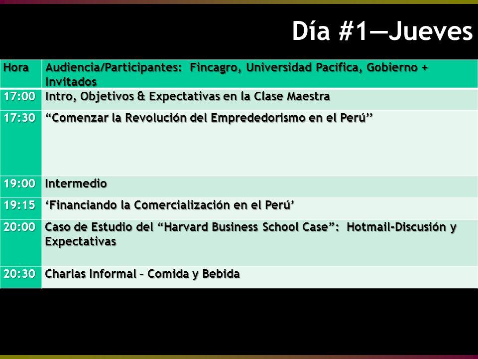 Día #1Jueves Día #1JuevesHora Audiencia/Participantes: Fincagro, Universidad Pacífica, Gobierno + Invitados 17:00 Intro, Objetivos & Expectativas en la Clase Maestra 17:30 Comenzar la Revolución del Emprededorismo en el Perú 19:00Intermedio 19:15 Financiando la Comercialización en el Perú 20:00 Caso de Estudio del Harvard Business School Case: Hotmail-Discusión y Expectativas 20:30 Charlas Informal – Comida y Bebida