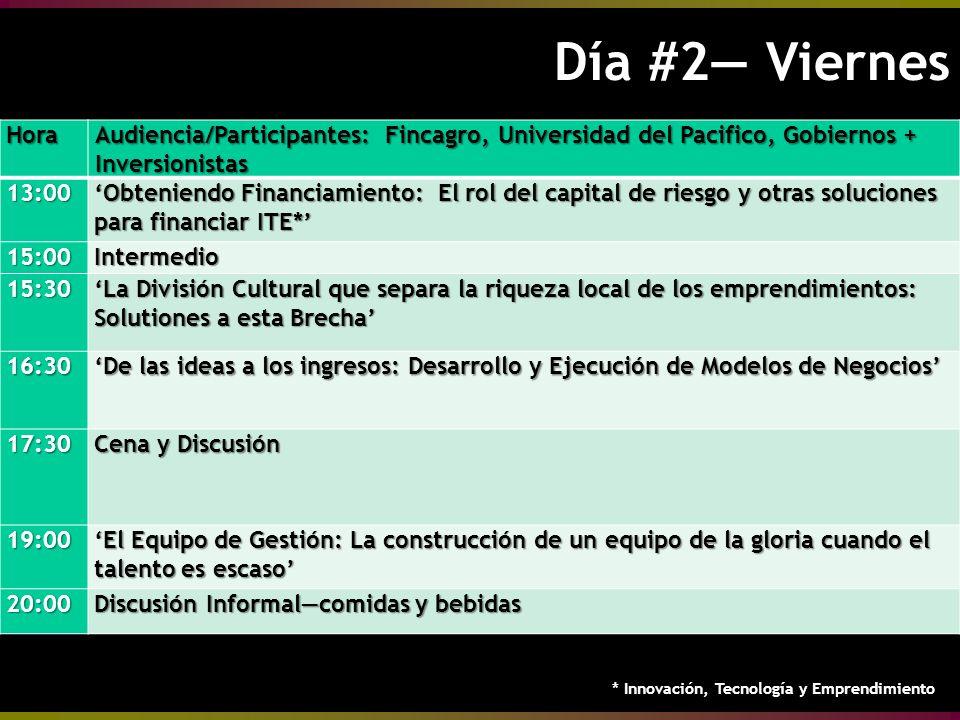 Día #2 Viernes Día #2 ViernesHora Audiencia/Participantes: Fincagro, Universidad del Pacifico, Gobiernos + Inversionistas 13:00 Obteniendo Financiamiento: El rol del capital de riesgo y otras soluciones para financiar ITE* 15:00Intermedio 15:30 La División Cultural que separa la riqueza local de los emprendimientos: Solutiones a esta Brecha 16:30 De las ideas a los ingresos: Desarrollo y Ejecución de Modelos de NegociosDe las ideas a los ingresos: Desarrollo y Ejecución de Modelos de Negocios 17:30 Cena y Discusión 19:00 El Equipo de Gestión: La construcción de un equipo de la gloria cuando el talento es escaso 20:00 Discusión Informalcomidas y bebidas * Innovación, Tecnología y Emprendimiento